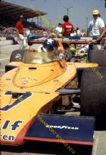 "McLaren M16 Offenhauser.  Johnny Rutherford Indy Pits 1973.  10x7"" photo"